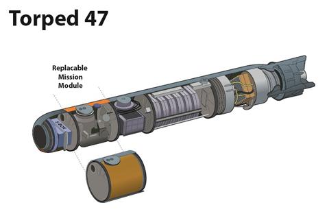 Проектное изображение новой шведской 400-мм противолодочной торпеды Saab Dynamics NLT (Torpedsystem 47).
