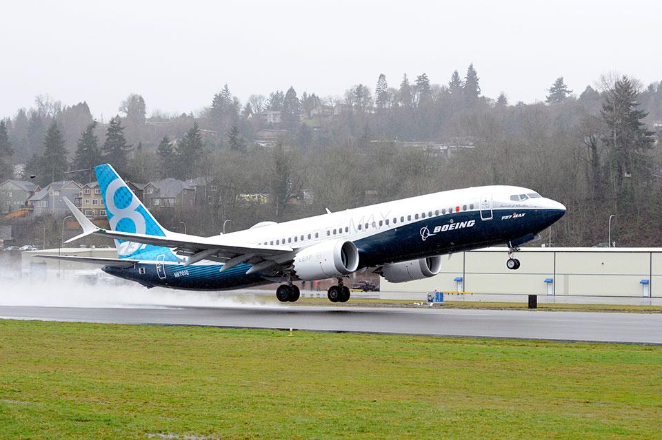 Первый полет самолета Boeing 737 MAX. 30 января 2016г.