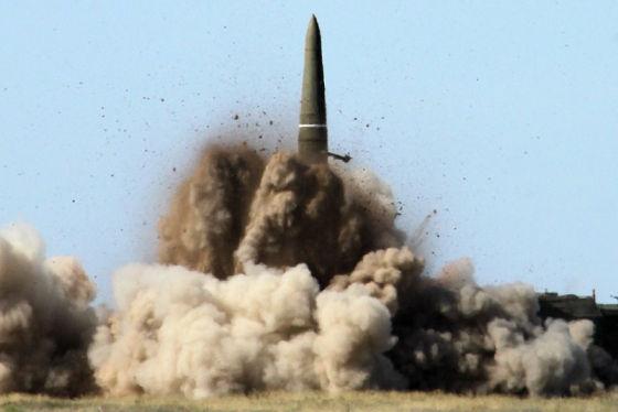 Отстрел верхнего бандажа при пуске ракеты 9М723К5