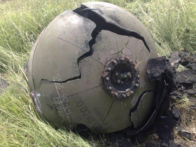 Остатки двигательного отсека ракеты 9М723 обнаруженные на территории Грузии в ходе Грузино-Осетинского конфликта, август 2008 г.
