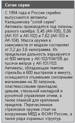 Автоматы Калашникова сотой серии.