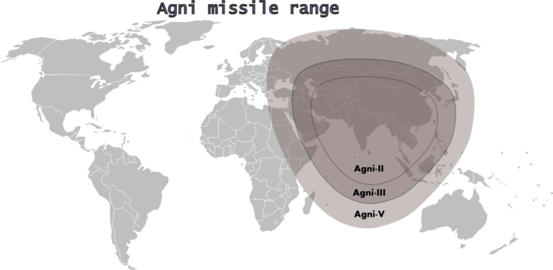 Зона поражения ракетами Agni. Рисунок en.wikipedia.org.