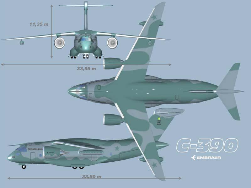 Проект военно-транспортного самолёта (ВТС) Embraer KC-390. Источник: Военное обозрение.
