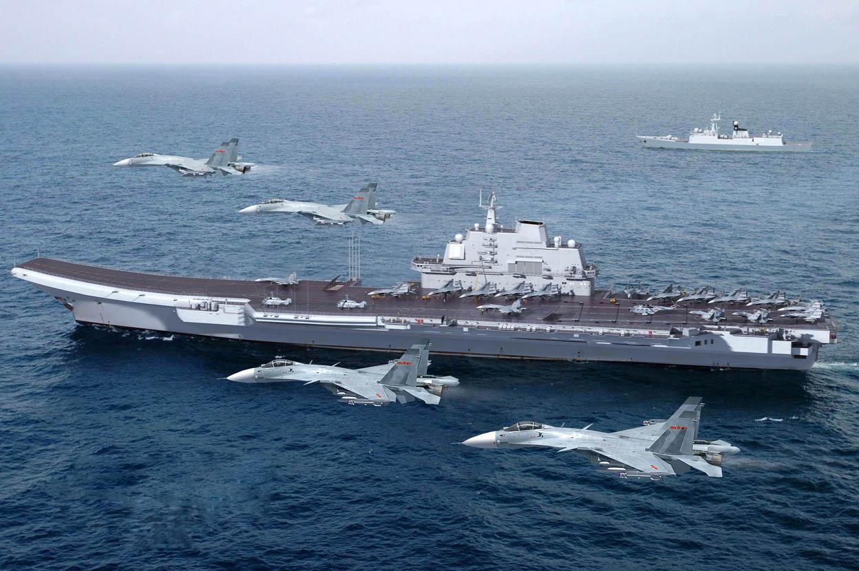 Компьютерная графика авианосца Shi Lang и палубных истребителей J-15. Источник: Chinese Military Review.
