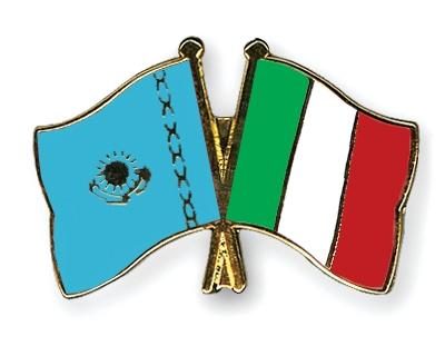Флаги Казахстана и Италии.