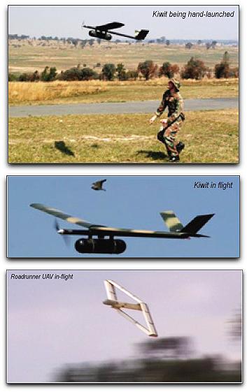 Южноафриканские военные БЛА – «ручной» Kiwitt и Roadrunner.