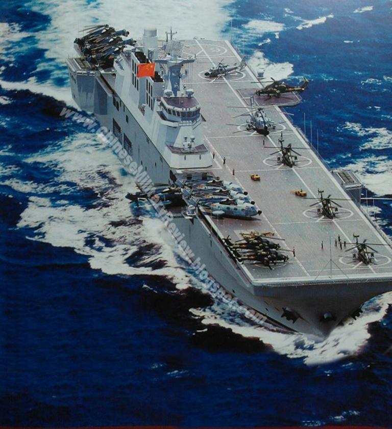 Компьютерные изображения перспективного китайского универсального десантного корабля Type 081. Источник: chinesemilitaryreview.blogspot.com .