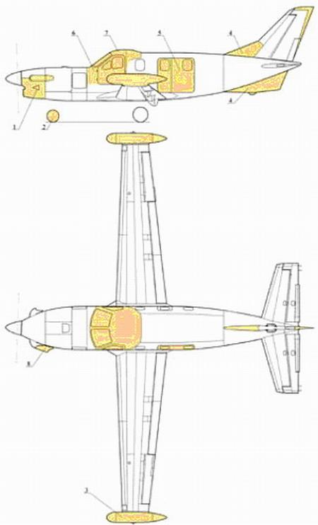"""Схема самолета М-101Т """"Сокол""""."""