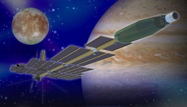 Так должен был выглядеть «Прометей», корабль с ионными двигателями, но с ядерным реактором на борту. (Изображение НАСА).