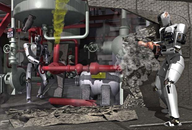 Ликвидация роботами утечки газа. Изображение: DARPA.