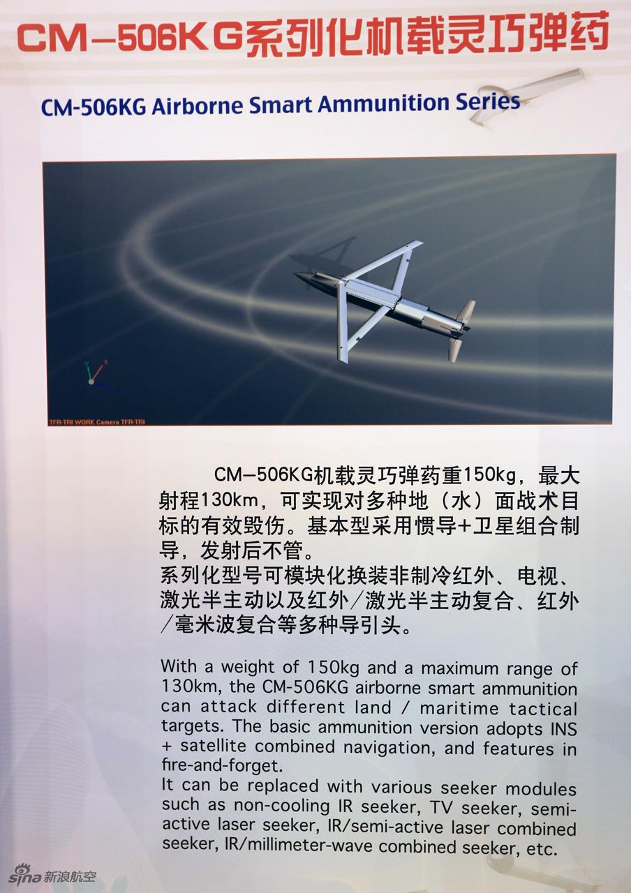 Китайский управляемый авиационный боеприпас с раздвижным оперением CM-506KG. Источник: slide.sky.news.sina.com.cn.