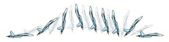 """Фигура высшего пилотажа """"Кобра"""", выполняемая на Су-27"""