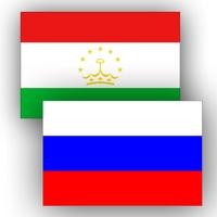 Флаги России и Таджикистана.