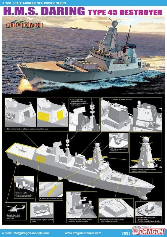 Эскадренный миноносец HMS Daring – головной в серии Type 45 Air Defence Destroyer - кораблей, предназначенных для организации системы ПВО оперативного соединения ВМС. Источник: Военное обозрение.