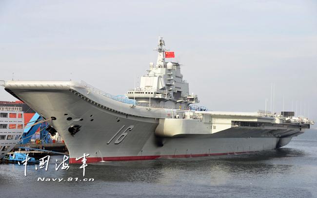 """Китайский авианосец «Ляонин» (бывший советский """"Варяг""""). Источник: news.mod.gov.cn."""