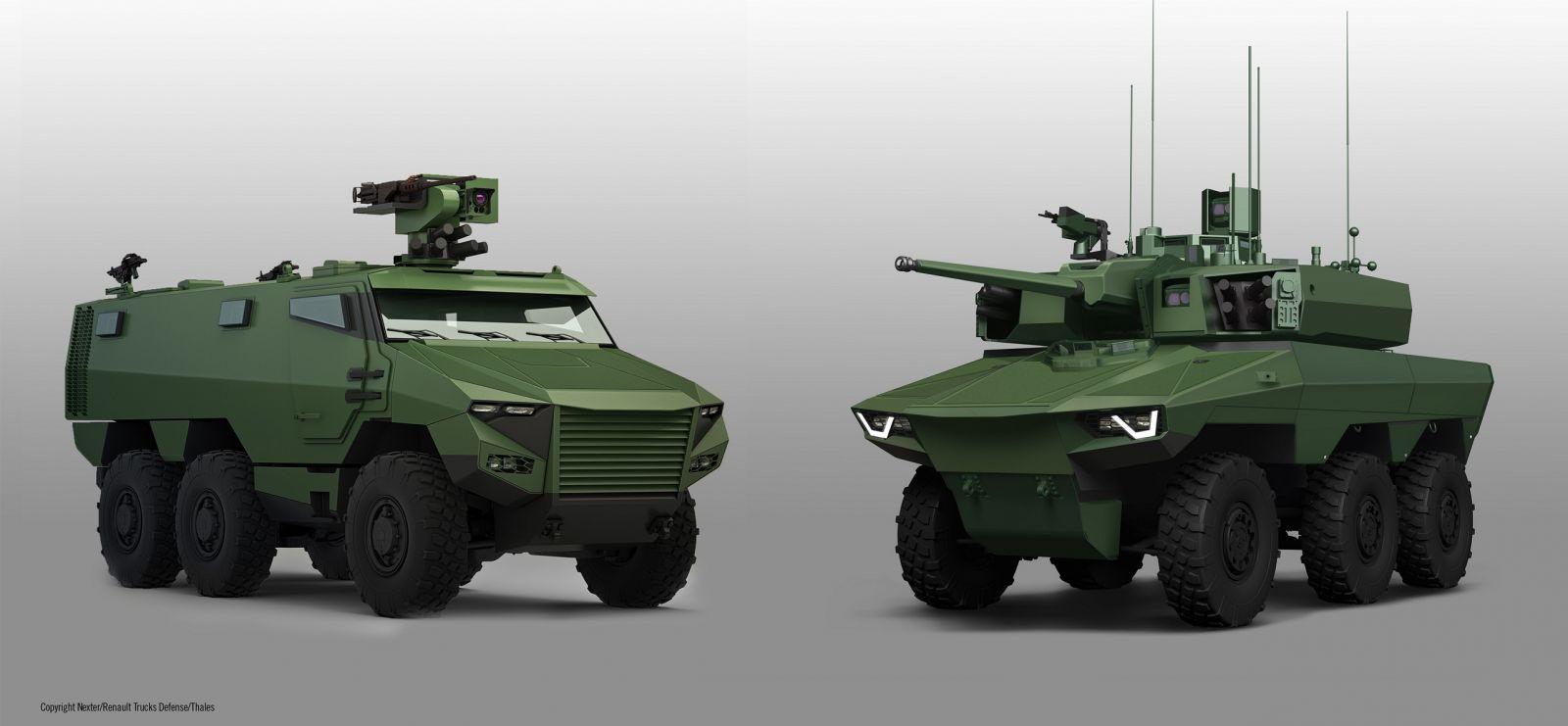 Новые бронированные машины Griffon VBMR и Jaguar EBRC, созданные совместно Renault Trucks Defense (RTD) и Nexter Systems для французской армии по программе Scorpion