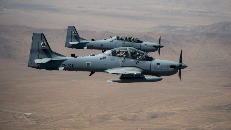 Легкие штурмовики Embraer A-29 (EMB-314) Super Tucano ВВС Афганистана. Август 2016 года.