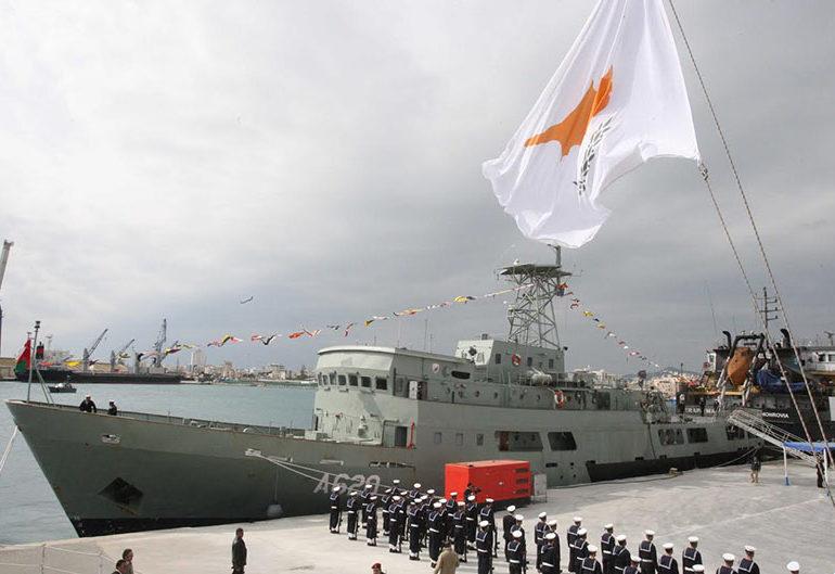 Ввод в строй Командования ВМС Национальной гвардии Кипра патрульного корабля A 620 Alasia - бывшего оманского Q 30 Al Mubrukah. Ларнака, 14.02.2017.