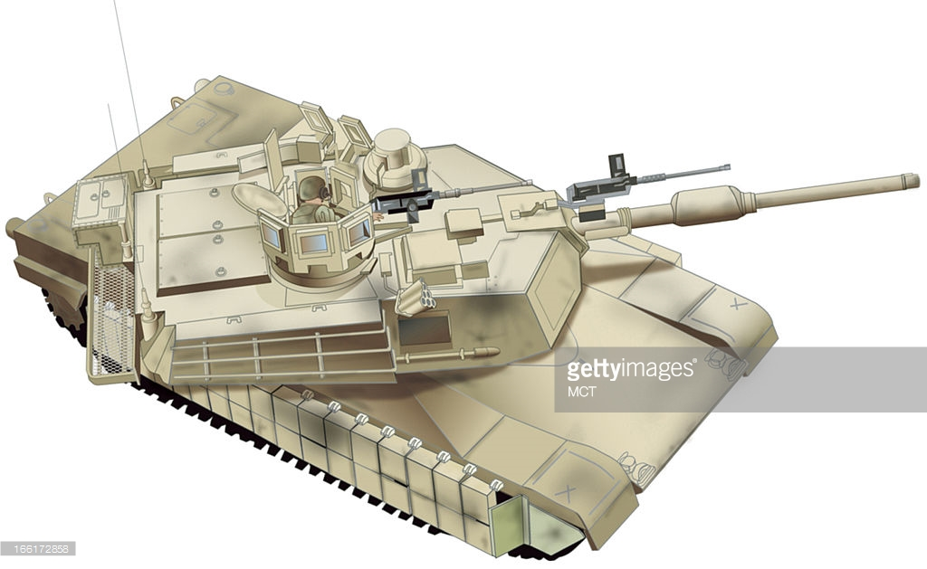 Иллюстрация танка «Абрамс» с установленным модернизационным пакетом повышенной выживаемости (TUSK).