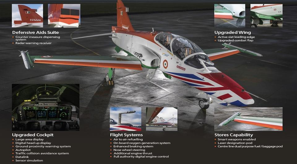 Основные отличия и усовершенствования учебно-боевого самолета Advanced Hawk совместной разработки BAE Systems и индийского государственного авиастроительного объединения Hindustan Aeronautics Limited (HAL).