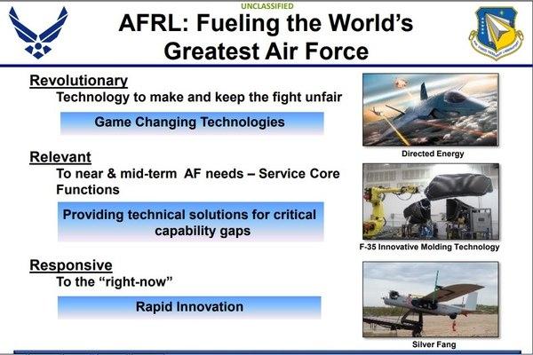 Слайд из презентации Air Force Research Laboratory от августа 2015 года с БПЛА Silver Fang, который применялся в Афганистане. (Фото: Air Force Research Laboratory).