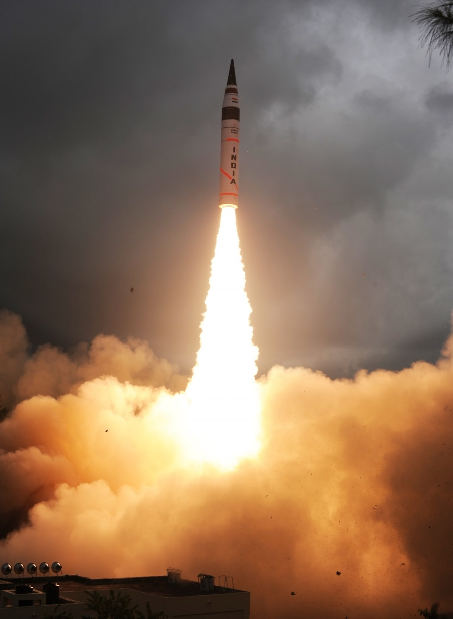 Второй испытательный пуск индийской МБР Agni-V 15 сентября 2013г.