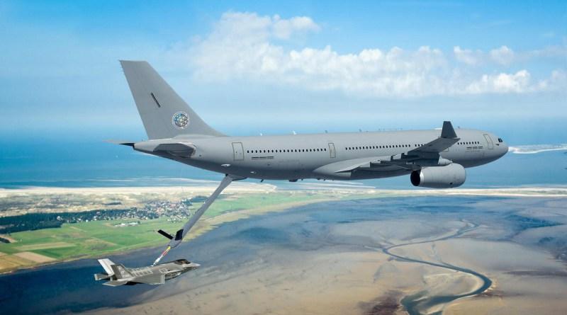 Художественное изображение одного из совместно закупаемых в рамках совместной многонациональной европейско-НАТОвской программы Multinational Multi-Role Tanker Transport Fleet (MMF) самолетов-заправщиков Airbus A330 MRTT, которые предполагается эксплуатировать под эгидой НАТО.