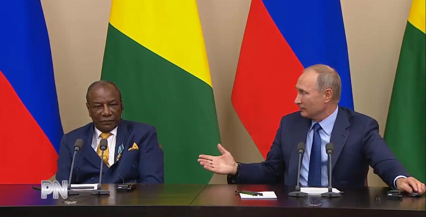 Президент Гвинейской Республики Альфа Конде и президент России Владимир Путин.