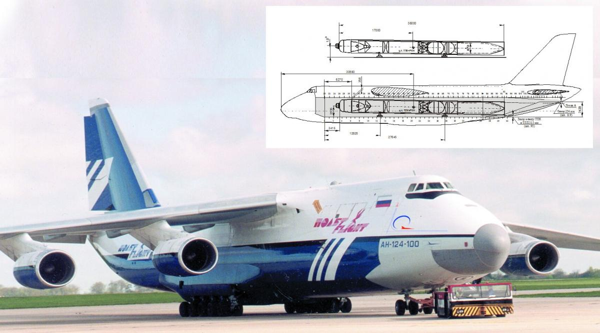 Схема размещения ракеты в грузовой кабине самолета Ан-124-100
