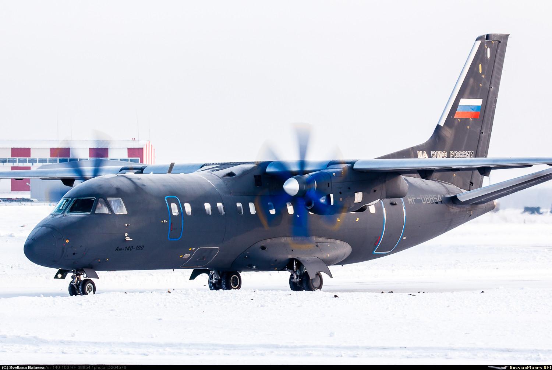 Совершавший перелет в состав Морской авиации Тихоокеанского флота самолет Ан-140-100 (регистрационный номер RF-08854, заводской номер 16А011) во время промежуточной посадки в Толмачево (Новосибирск), 13.02.2017.
