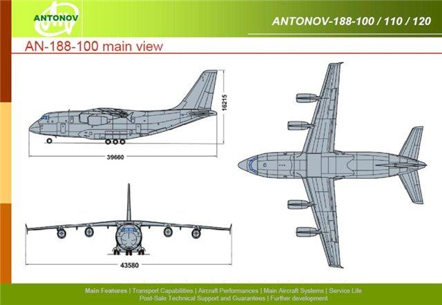 Еще один вариант развития концепции Ан-70 - самолет Ан-188 с ТРД.