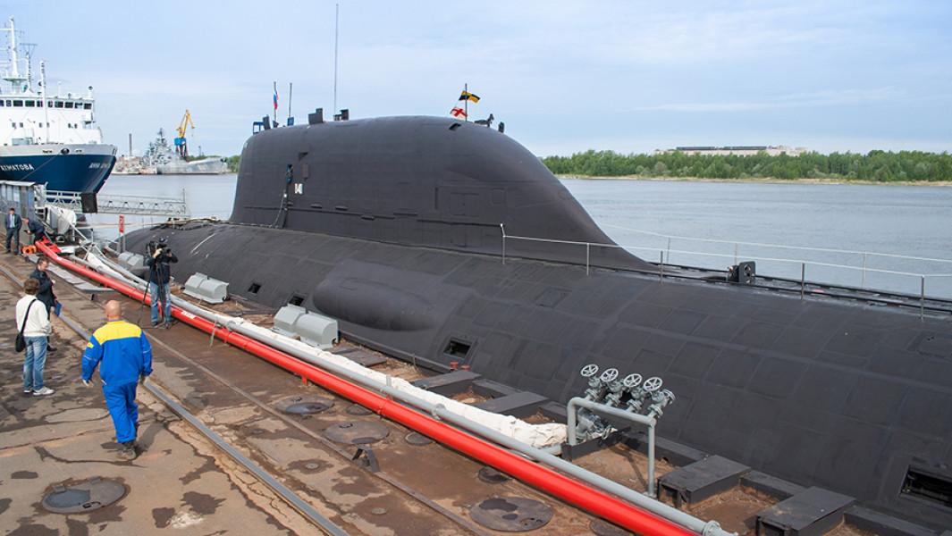 """Многоцелевая атомная подводная лодка (АПЛ) проекта """"Ясень""""К-560 """"Северодвинск""""."""