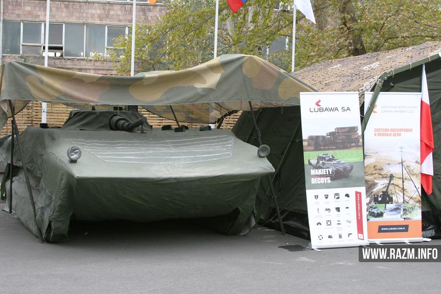 Макет-имитатор БМП-1 производства армяно-польской компании «Любава-Армения» в экспозиции выставки ArmHiTec-2016 в Ереване.