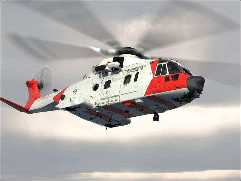 Проектное изображение вертолета AgustaWestland AW101 в поисково-спасательной конфигурации для ВВС Норвегии.