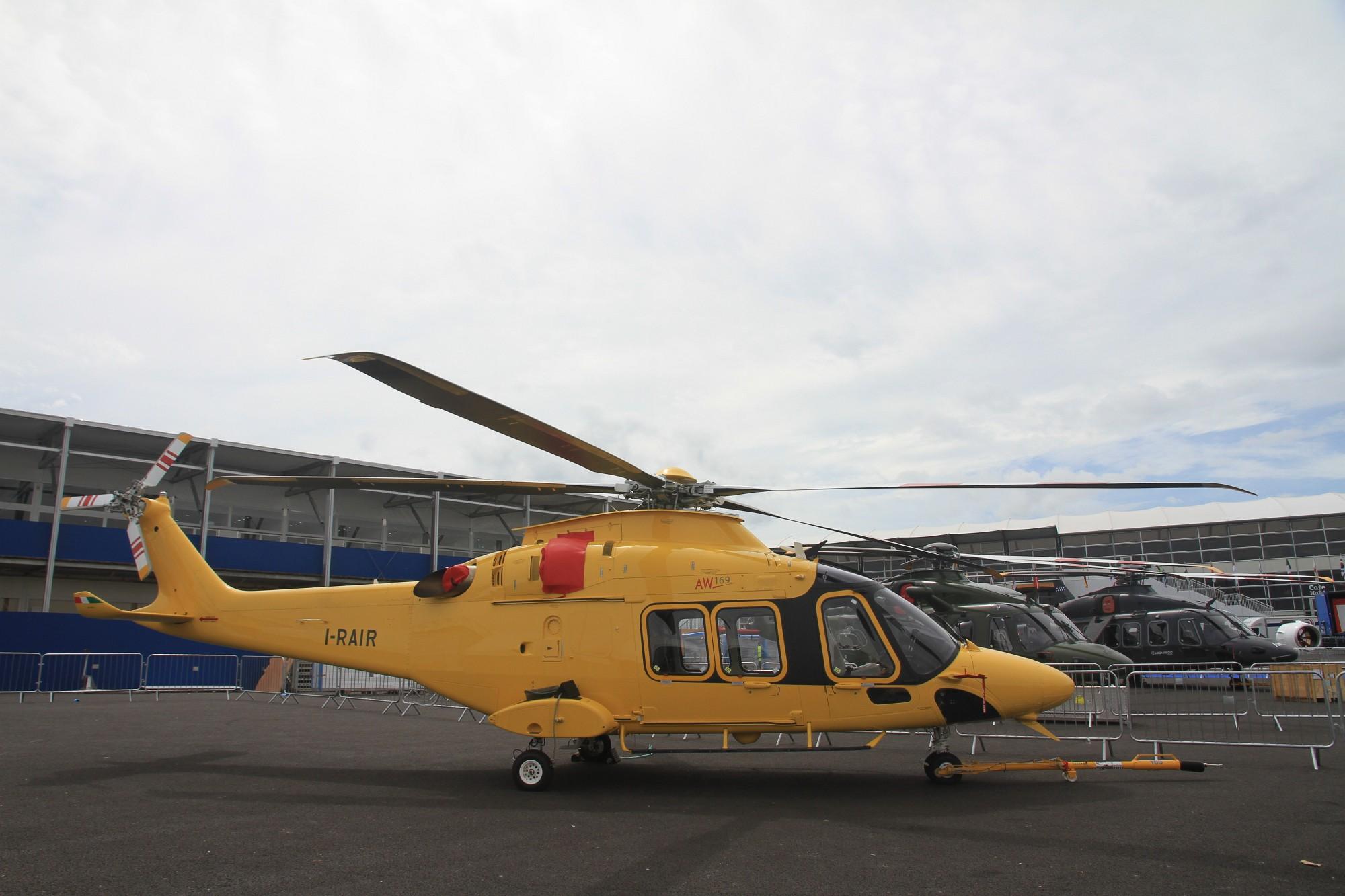 Новый средний коммерческий вертолет Leonardo-Finmeccanica Helicopter (ранее AgustaWestland) AW169. Фарнборо, 09.07.2016.