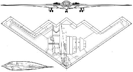 Проекции американского бомбардировщика B-2 Spirit.