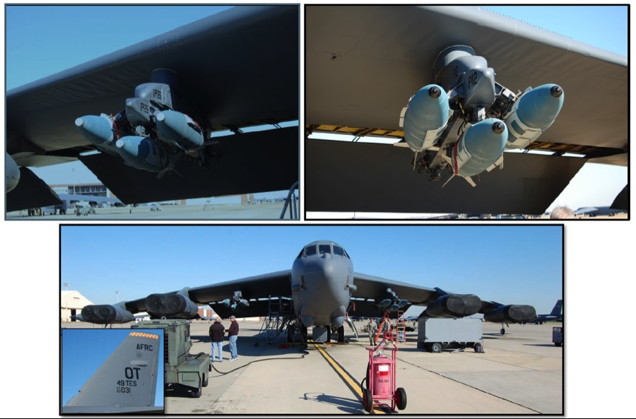 Стратегический бомбардировщик Boeing B-52H Stratofortress (номер ВВС США 60-0031/OT, серийный номер 464396) из состава 49-й испытательной эскадрильи 53-го крыла ВВС США с шестью подвешенными на пилонах для испытательного сброса новыми американскими авиационными морскими донными неконтактными минами высокоточной постановки Mk 64 Quickstrike-J на основе 2000-фунтовой авиационной бомбы Mk 84 - справа Mk 64-J Mod 0, слева Mk 64-J Mod 3. В настоящее время В-52Н способен максимально нести 12 мин Mk 64 Quickstrike-J  на внешних подвесках. В дальнейшем планируется доработать под несение этих мин барабанную револьверную пусковую установку в бомбоотсеке В-52Н, что позволит самолету суммарно нести до 20 мин. Барксдейл.