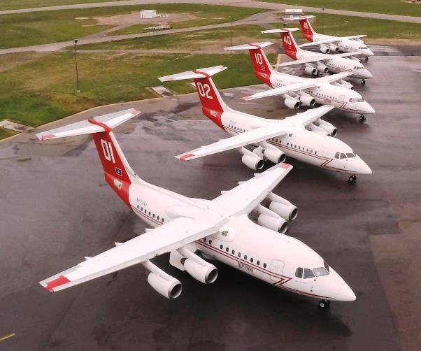 Противопожарные самолеты BAe 146-200 компании Neptune Aviation, 2014 год.