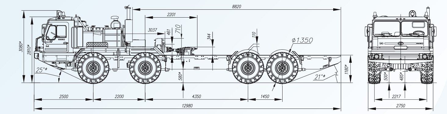Схема специального колесного шасси БАЗ-69092-012.