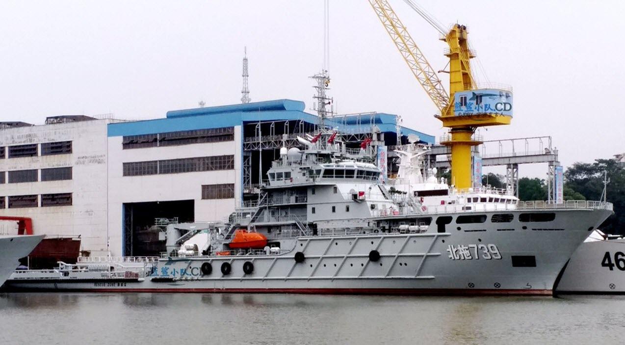 Морской буксир Bei Tuo 739 на китайском судостроительном предприятии Guangzhou Huangpu Shipbuiding Сompany в Гуанчжоу незадолго до ввода в строй ВМС НОАК.