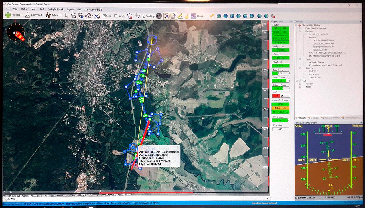 Маршрут облета местности беспилотным летательным аппаратом Группы «Кронштадт» на учениях Кингисеппских электрических сетей, наложенный на карту местности.