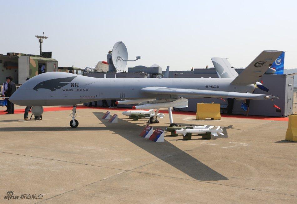 Китайский разведывательно-ударный беспилотный летательный аппарат Wing Loong I (Yilong-1, Pterodactyl I) большой продолжительности полета.