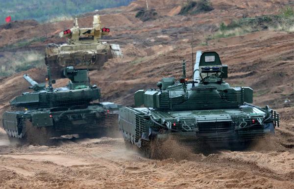 "БМПТ ""Терминатор"", танк Т-90М и танк Т-80БВМ"
