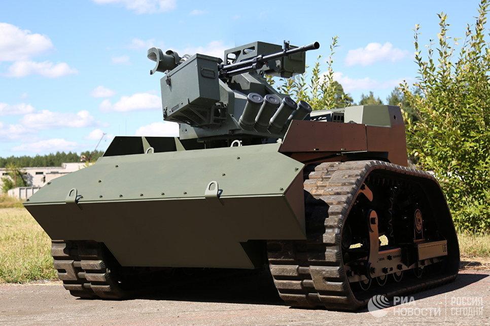 """Боевой модуль """"Арбалет-ДМ"""", установленный на робототехнический комплекс АНТ-1000Р."""