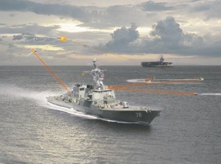 Так в США художественно изобразили действие вообще-то невидимых лучей боевого лазера.