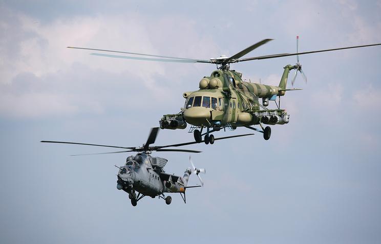Вертолеты Ми-35М и Ми-8АМТШ.