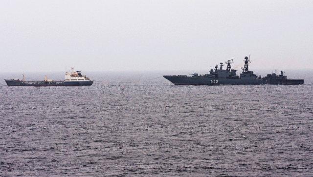 Боевые корабли Северного флота в Норвежском море. Архивное фото.