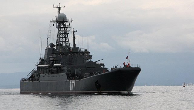 Большой десантный корабль (БДК) Пересвет Тихоокеанского флота. Архивное фото.