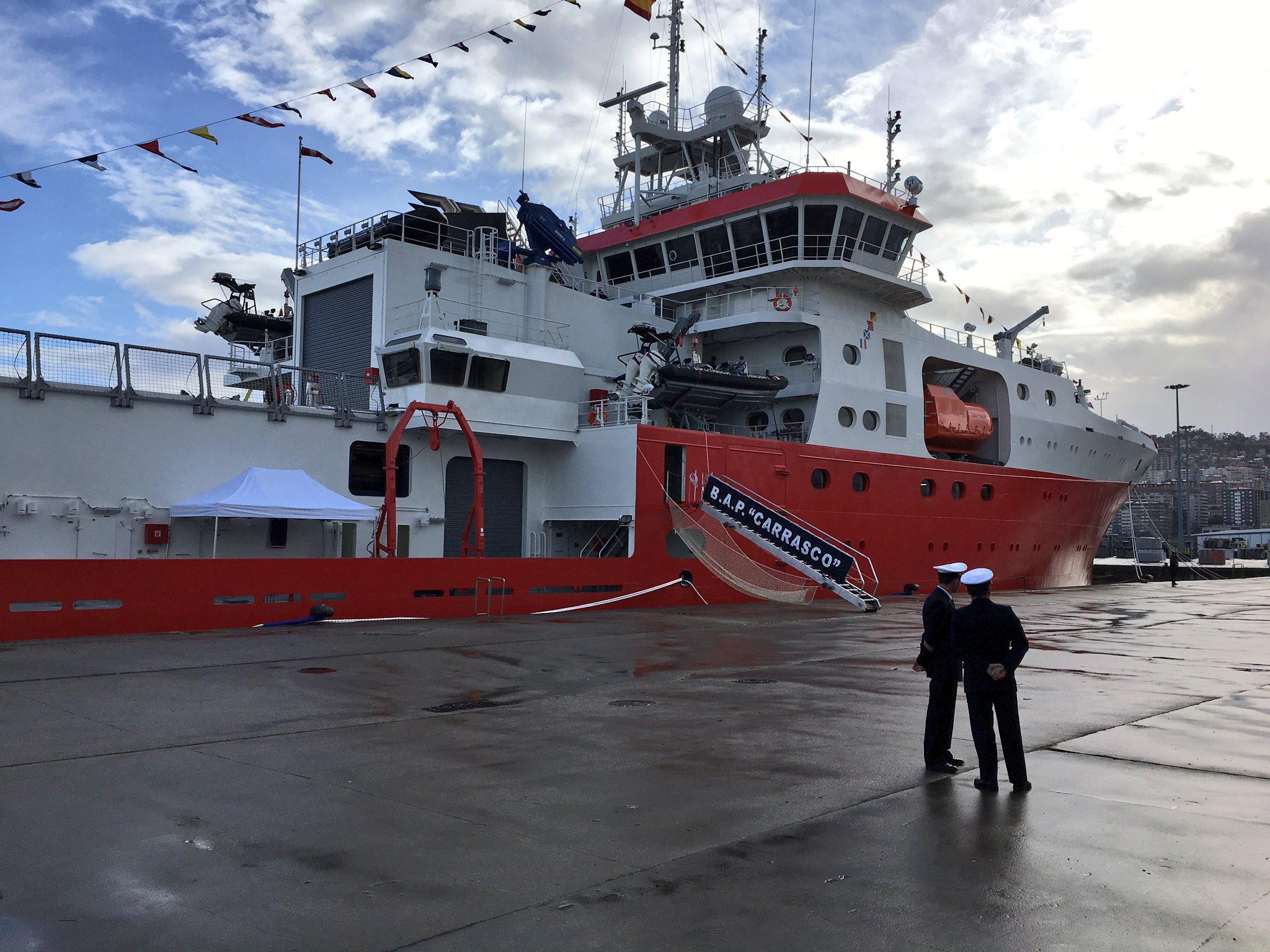 Построенное для ВМС Перу испанской судостроительной компанией Construcciones Navales P. Freire антарктическое полярное исследовательское судно BOP 171 Carrasco перед передачей заказчику. Виго (Испания), 22.03.2017