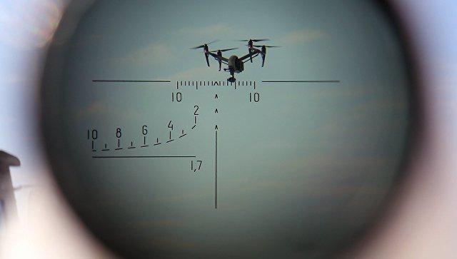 БПЛА, наблюдаемый через оптический прицел, во время учений по борьбе с воздушными целями. Архивное фото.